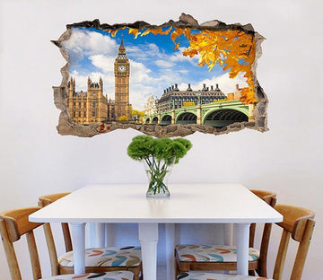 3D Sunny London Scenery 078 Broken Wall Murals Wallpaper AJ Wallpaper