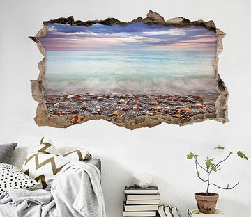 3D Seaside Stones 054 Broken Wall Murals Wallpaper AJ Wallpaper