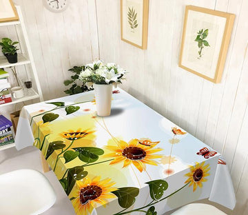 3D Sunflowers Butterflies 206 Tablecloths Wallpaper AJ Wallpaper