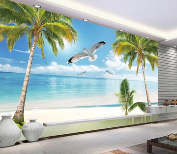 3D Ocean Beach Tree Crane Wallpaper AJ Wallpaper 1
