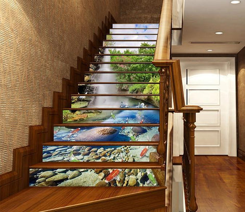 3D Waterfall Lake Animals 1613 Stair Risers Wallpaper AJ Wallpaper