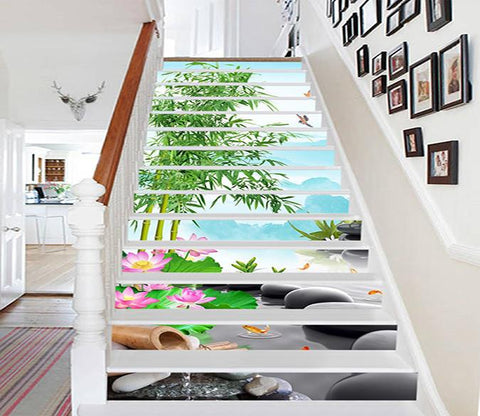 3D Bamboos Stones 408 Stair Risers Wallpaper AJ Wallpaper