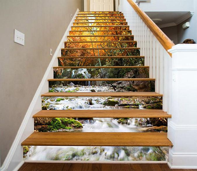 3D Autumn Forest River 1193 Stair Risers Wallpaper AJ Wallpaper