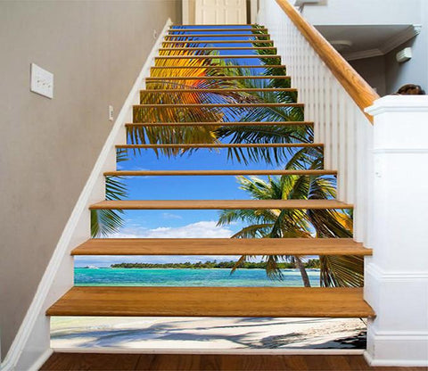 3D Beach Trees 768 Stair Risers Wallpaper AJ Wallpaper