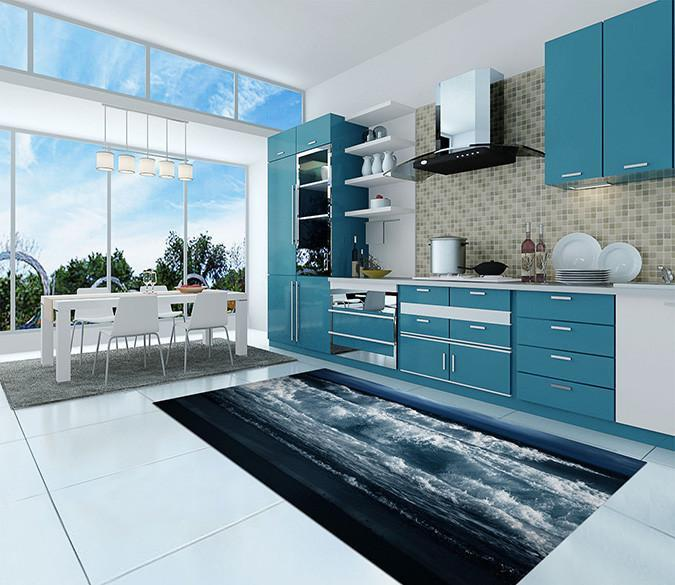 3D Dusk Sea Tide 99 Kitchen Mat Floor Mural Wallpaper AJ Wallpaper