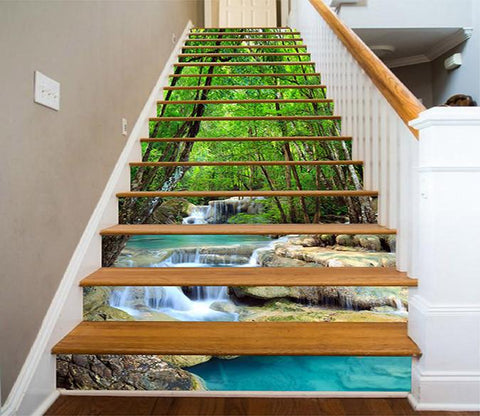 3D Green Forest Blue River 741 Stair Risers Wallpaper AJ Wallpaper