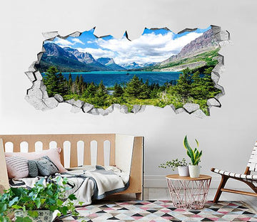 3D Mountains Lake Scenery 162 Broken Wall Murals Wallpaper AJ Wallpaper