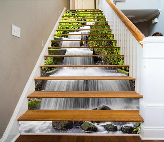 Wallpaper Stairs: 3D Beautiful River 1112 Stair Risers
