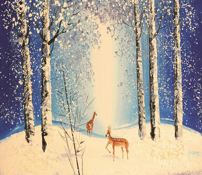 Snowing Forest Deer Wallpaper AJ Wallpaper