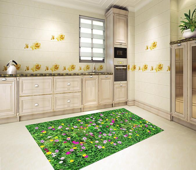 3D Lush Grass Flowers 152 Kitchen Mat Floor Mural Wallpaper AJ Wallpaper