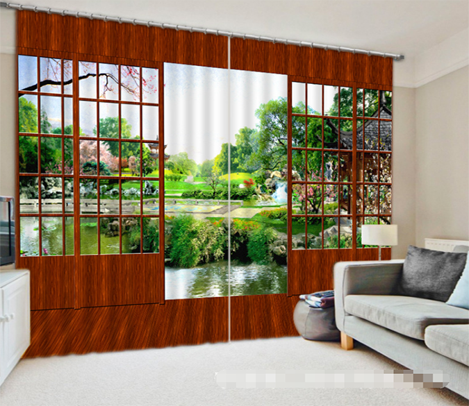 3D Door Pretty Scenery 1330 Curtains Drapes Wallpaper AJ Wallpaper