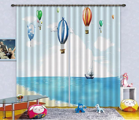 3D Sea Flying Balloons 2471 Curtains Drapes Wallpaper AJ Wallpaper