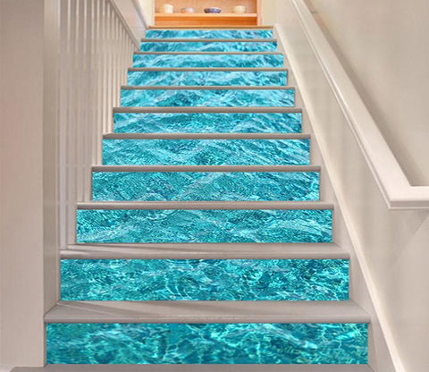 3D Crystal Clear Sea Water 810 Stair Risers