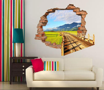 3D Farmland Road 2 Broken Wall Murals Wallpaper AJ Wallpaper