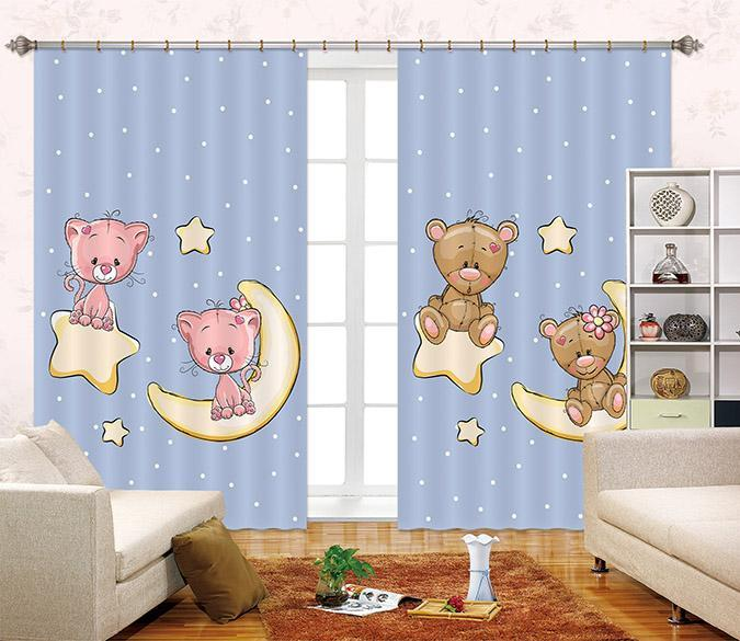 3D Stars Moon Bears 2402 Curtains Drapes Wallpaper AJ Wallpaper