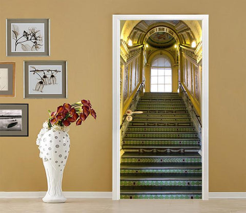 3D Ancient Castle Stairs 79 Door Mural