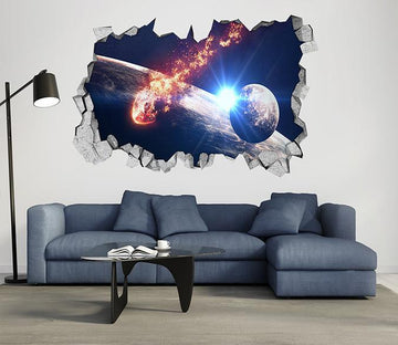 3D Space Meteorite Falls 47 Broken Wall Murals Wallpaper AJ Wallpaper