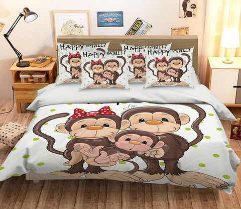 3D Monkey Family 319 Bed Pillowcases Quilt