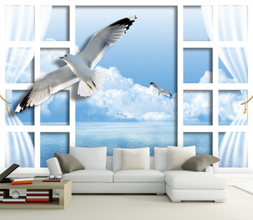 Window Flying Seagulls Wallpaper AJ Wallpaper