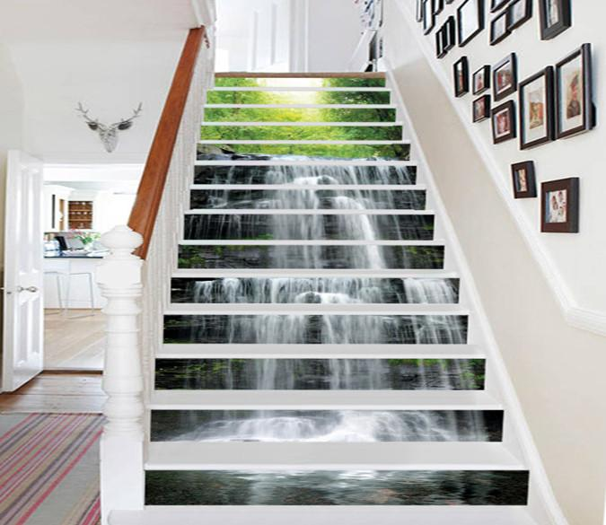 3D Forest Rocks Waterfall 698 Stair Risers Wallpaper AJ Wallpaper