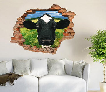 3D Funny Cow 24 Broken Wall Murals Wallpaper AJ Wallpaper