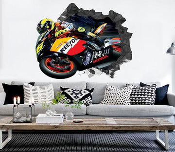 3D Motorcyclist 26 Broken Wall Murals Wallpaper AJ Wallpaper