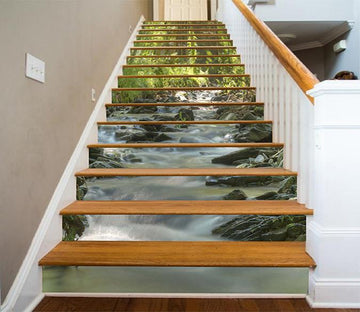 3D Forest River Stones 1263 Stair Risers Wallpaper AJ Wallpaper