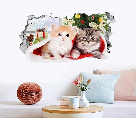 3D Christmas Cats 151 Broken Wall Murals Wallpaper AJ Wallpaper
