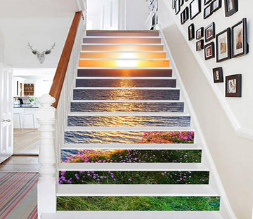 3D Sea Sunset Flowers 728 Stair Risers Wallpaper AJ Wallpaper