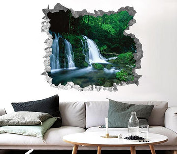 3D Forest Waterfall 201 Broken Wall Murals Wallpaper AJ Wallpaper