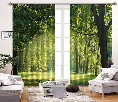 3D Green Lawn Trees 2232 Curtains Drapes