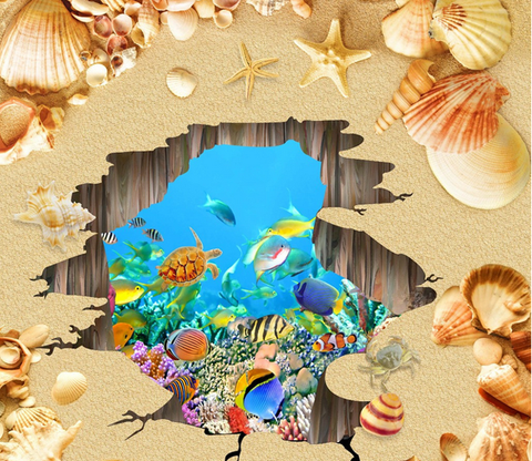 3D Beach Hole Floor Mural Wallpaper AJ Wallpaper 2