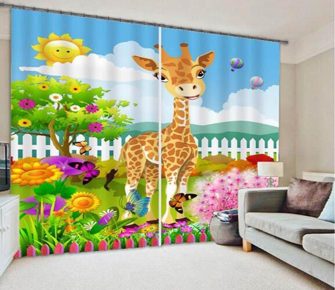 3D Lovely Giraffe 853 Curtains Drapes Wallpaper AJ Wallpaper