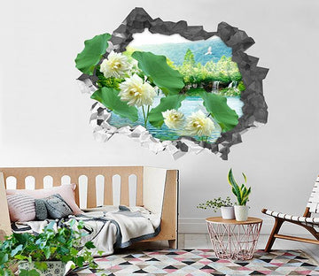 3D Lake Pure Lotus 95 Broken Wall Murals Wallpaper AJ Wallpaper