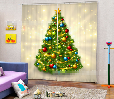 3D Shining Christmas Tree 2057 Curtains Drapes