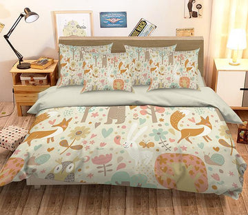3D Animals Flowers Pattern 348 Bed Pillowcases Quilt Wallpaper AJ Wallpaper