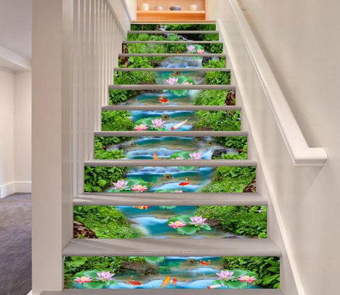 3D Beautiful River Flowers 565 Stair Risers Wallpaper AJ Wallpaper
