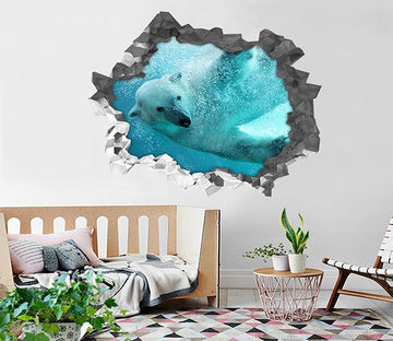 3D Ocean Swimming Animal 90 Broken Wall Murals Wallpaper AJ Wallpaper