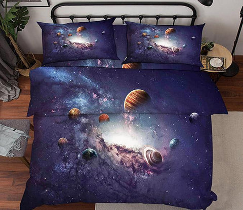 3D Space Planets 45 Bed Pillowcases Quilt