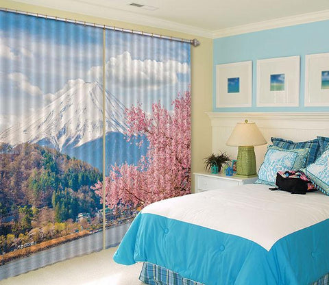 3D Mount Fuji Flowers 531 Curtains Drapes Wallpaper AJ Wallpaper