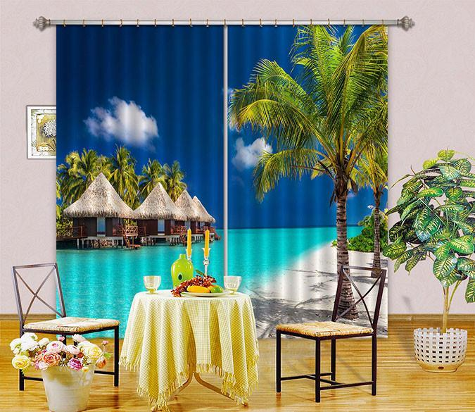 3D Pavilion Sea Scenery Curtains Drapes Wallpaper AJ Wallpaper
