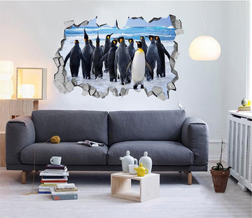 3D Seaside Penguins 148 Broken Wall Murals Wallpaper AJ Wallpaper
