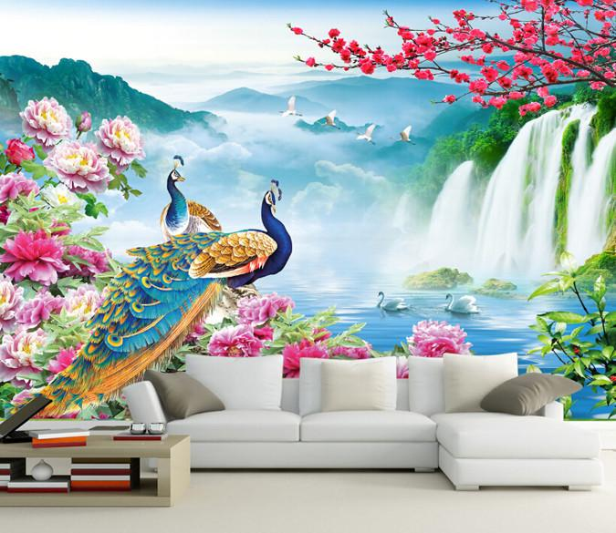 3D Beautiful Peacock And Waterfall 1