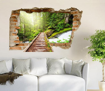 3D Forest River Wood Bridge 358 Broken Wall Murals Wallpaper AJ Wallpaper