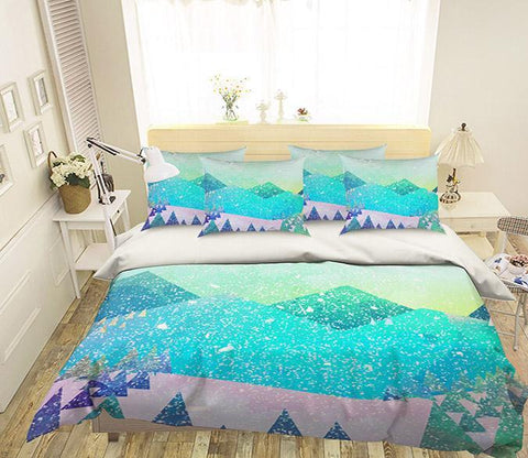 3D Mountains Pattern 357 Bed Pillowcases Quilt