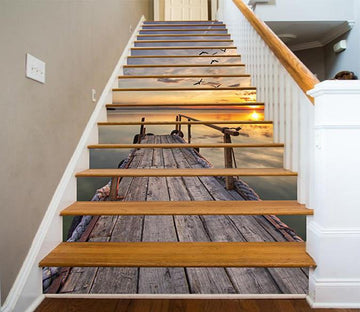 3D Sea Wood Bridge Sunset 1570 Stair Risers Wallpaper AJ Wallpaper