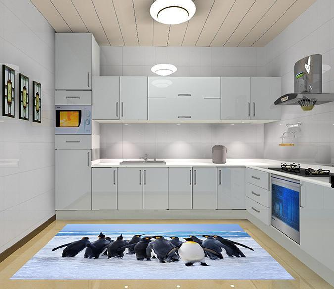 3D Seaside Penguins 643 Kitchen Mat Floor Mural Wallpaper AJ Wallpaper