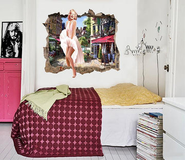 3D Marilyn Monroe 25 Broken Wall Murals Wallpaper AJ Wallpaper