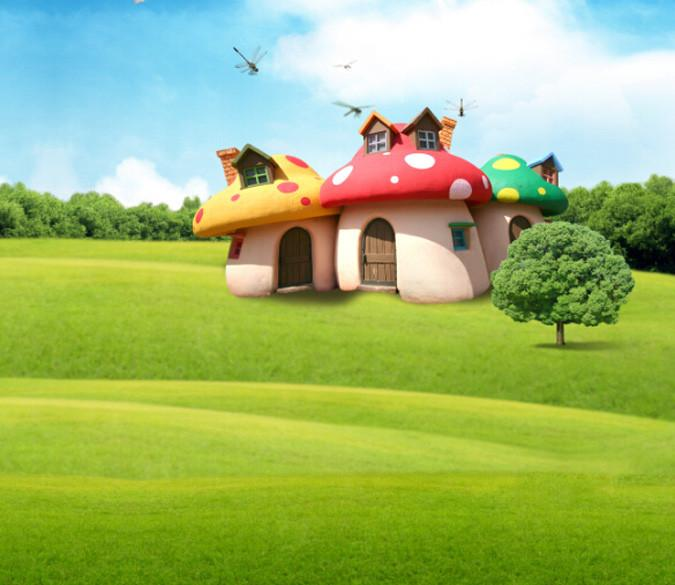 Cute Mushroom Houses Wallpaper AJ Wallpaper