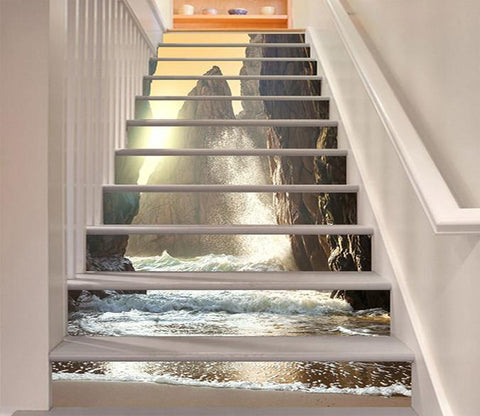 3D Sea Towering Mountains 885 Stair Risers